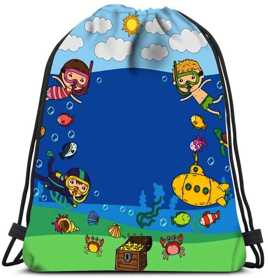 bneegxg Drawstring Bags Kids Waterpark Sea and Ocean Adventure Cartoon Creatures with Children Beach Rucksack