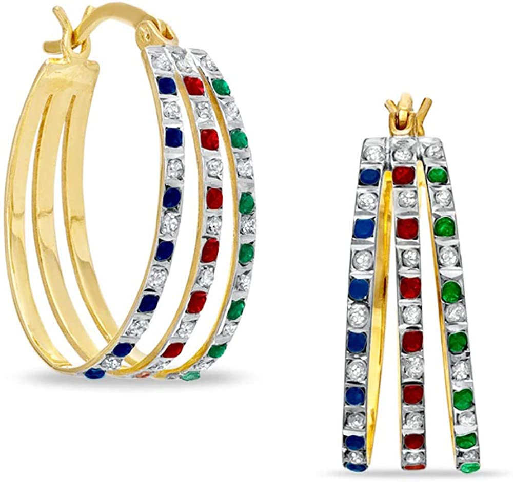 Silvercartvila Round Cut Blue Sapphire, Garnet, Emerald & Clear Sim Gemstone Triple Hoop Earrings In 18K Yellow Gold Plated with 925