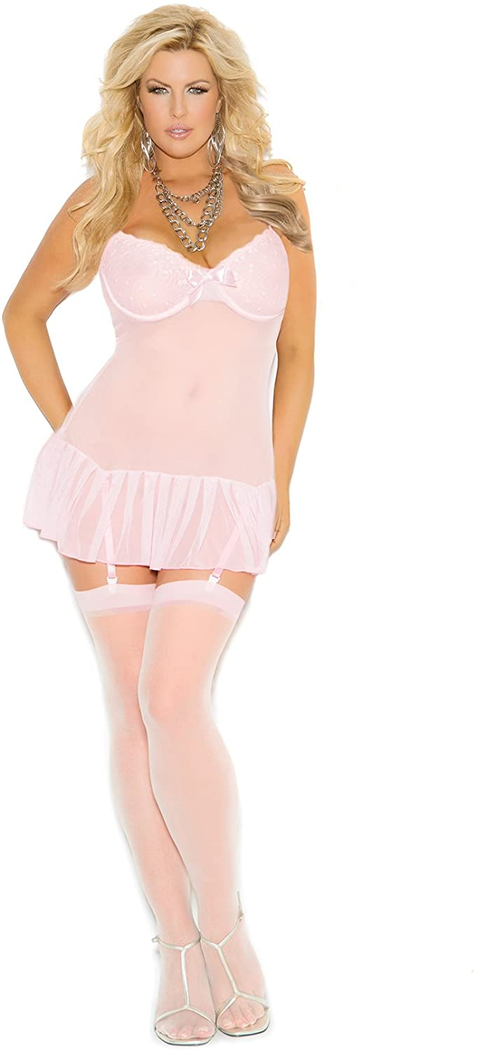 Elegant Moments Womens Plus Queen Size Sydney Mesh Chemise with Removable Garter
