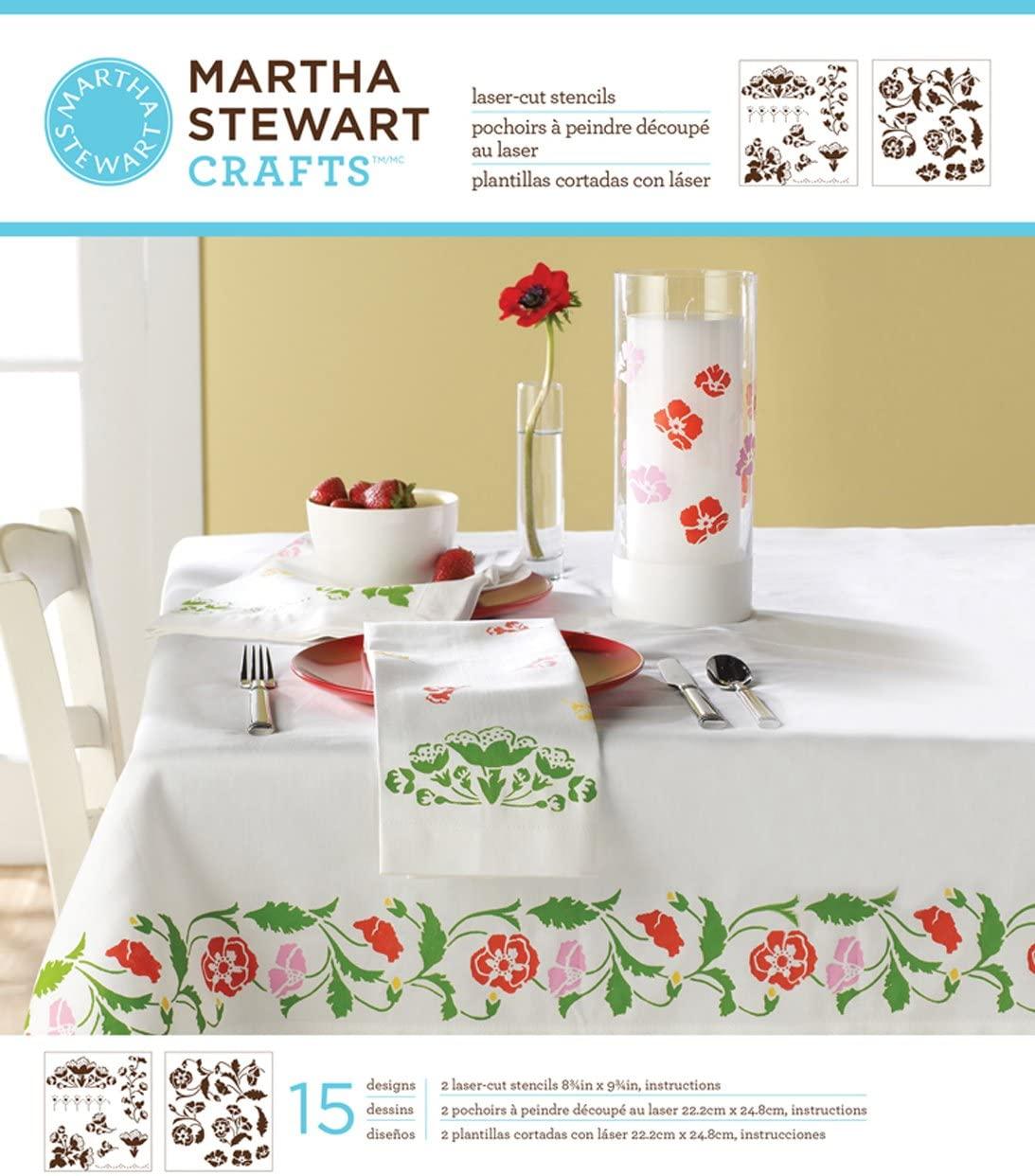 Martha Stewart Crafts Medium Stencils (8.75 by 9.75-Inch), 32978 Flower Vines (2 Sheets with 15 Designs)