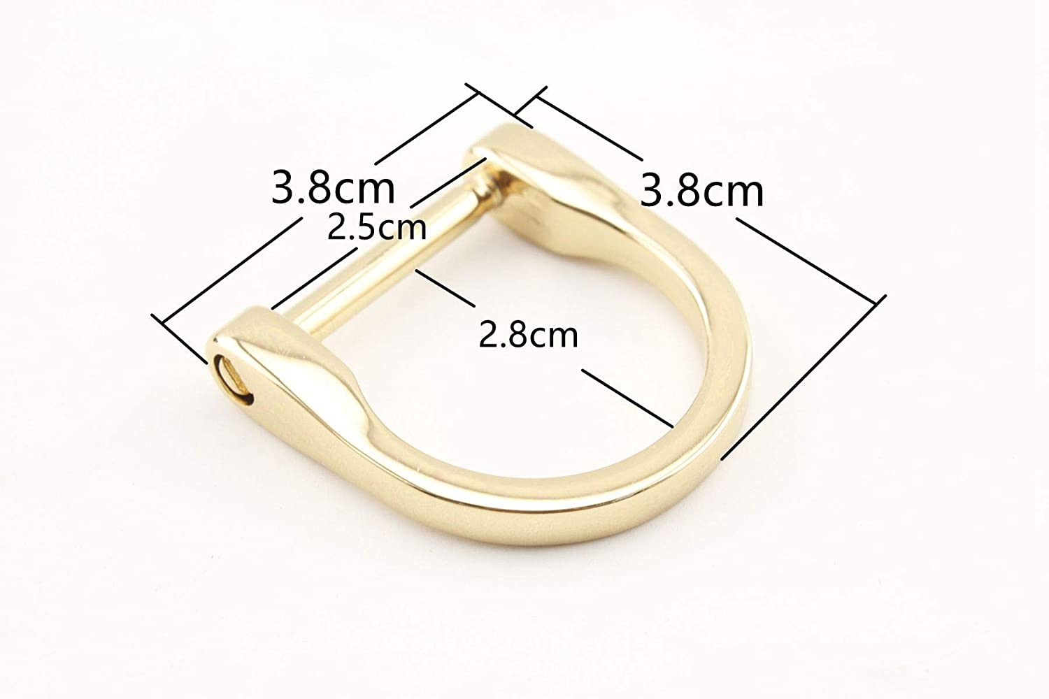 Golden, 1 inch / 25mm 4 Different Size zinc Alloy D Rings D-Ring with Screw,Buckles Dismountable Screw for Buckle Straps Bags Belt,Purse Making, Bag Making,Bag Replacement, 6 Pieces per lot AT73