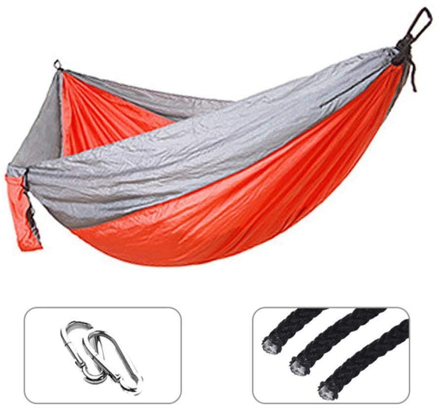 None Branded Double Hammock 210t Nylon Hammock Durable Ultra-Light Bed Swing Outdoor Camping Trip Hiking Backpack TravelTravelBeachPaddock Outdoor Indoor Light and Portable 2 People with Carrying Bag