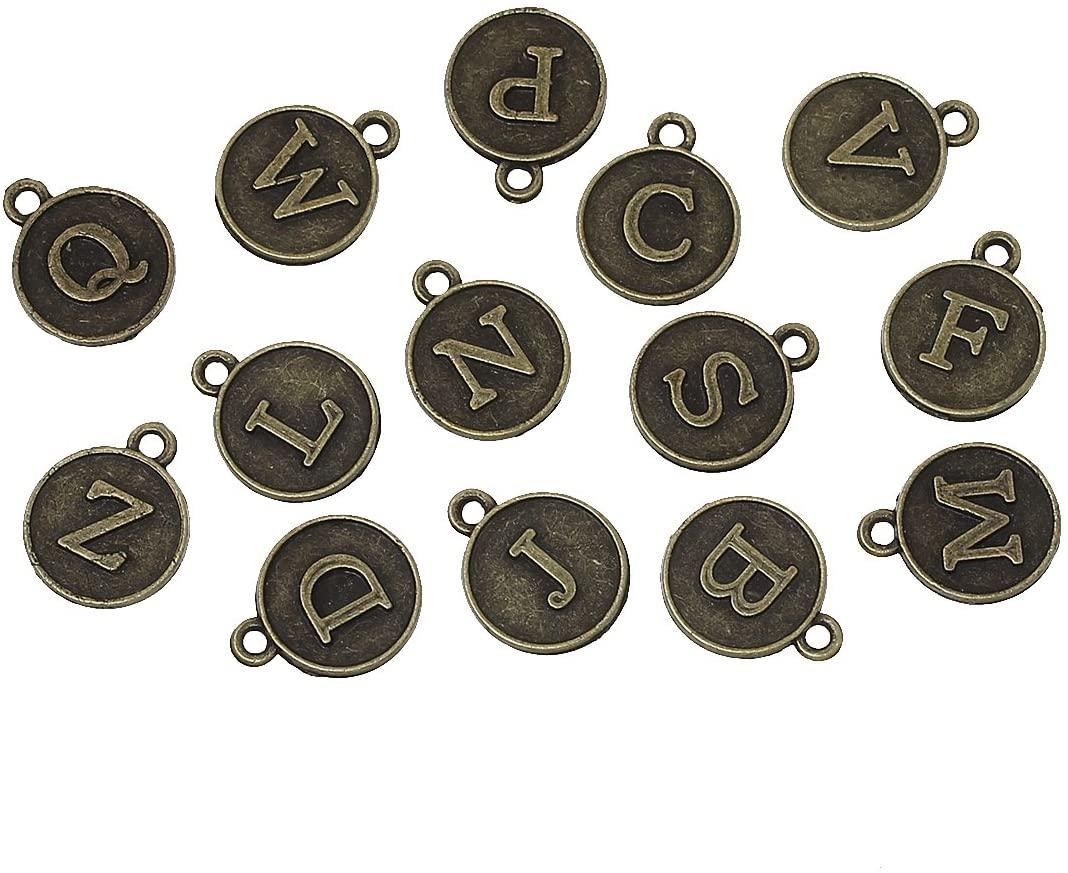 145 Pc Bronze Tone Random Alphabet Letter Pendants, 13x15mm Typewriter Keys Look - DIY Crafts, Jewelry Making, Charms
