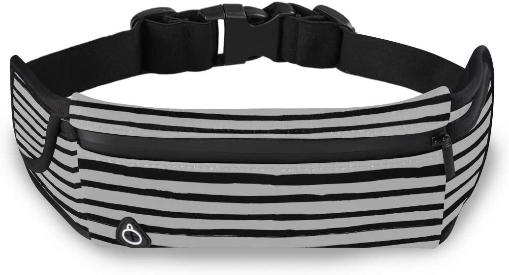 Black White Strip Modern Kid Fanny Pack For Girls Waist Bag For Women Fashion Men Bag With Adjustable Strap For Workout Traveling Running