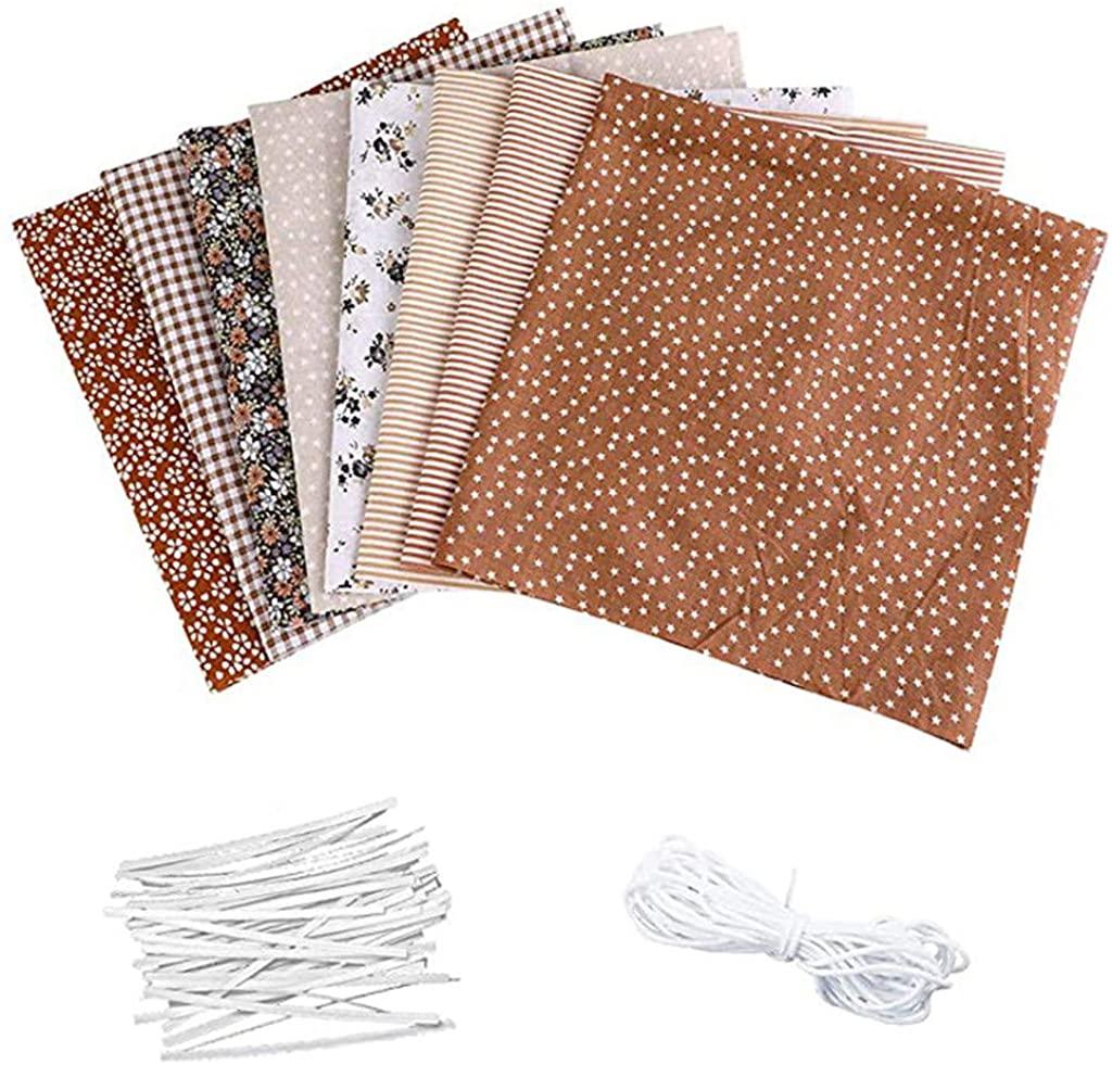 DIY Face Cover Kit, 8Pcs Fabric Sewing Patchwork+10m Elastic Band+20Pcs Nasal Bridge, Dedicated DIY Craft Making Kit