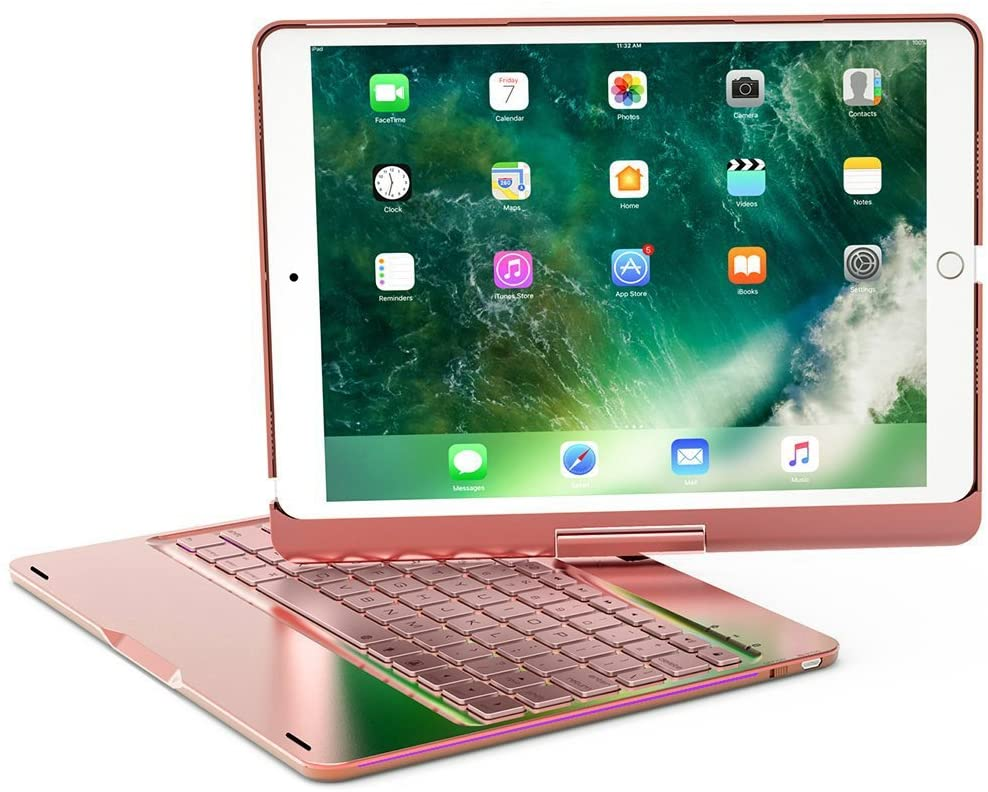 iPad Pro 10.5 Arabic Keyboard Case, 7 Colors Adjustment LED Backlit and Breathing Light Aluminum Wireless Bluetooth Keyboard With 360 Degree Rotatable Cover For iPad Pro 10.5 A1701/A1709 (Rose Gold)