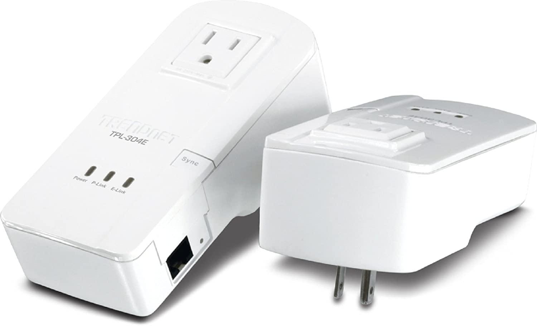 TRENDnet 200 Mbps Powerline Ethernet AV Adapter Kit with Bonus Outlet TPL-304E2K (White)