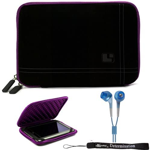 Black Purple Stylish Sleeve Premium Cover Case for Barnes and Noble Nook Color eBook Reader Tablet and Hand Strap and Earbuds