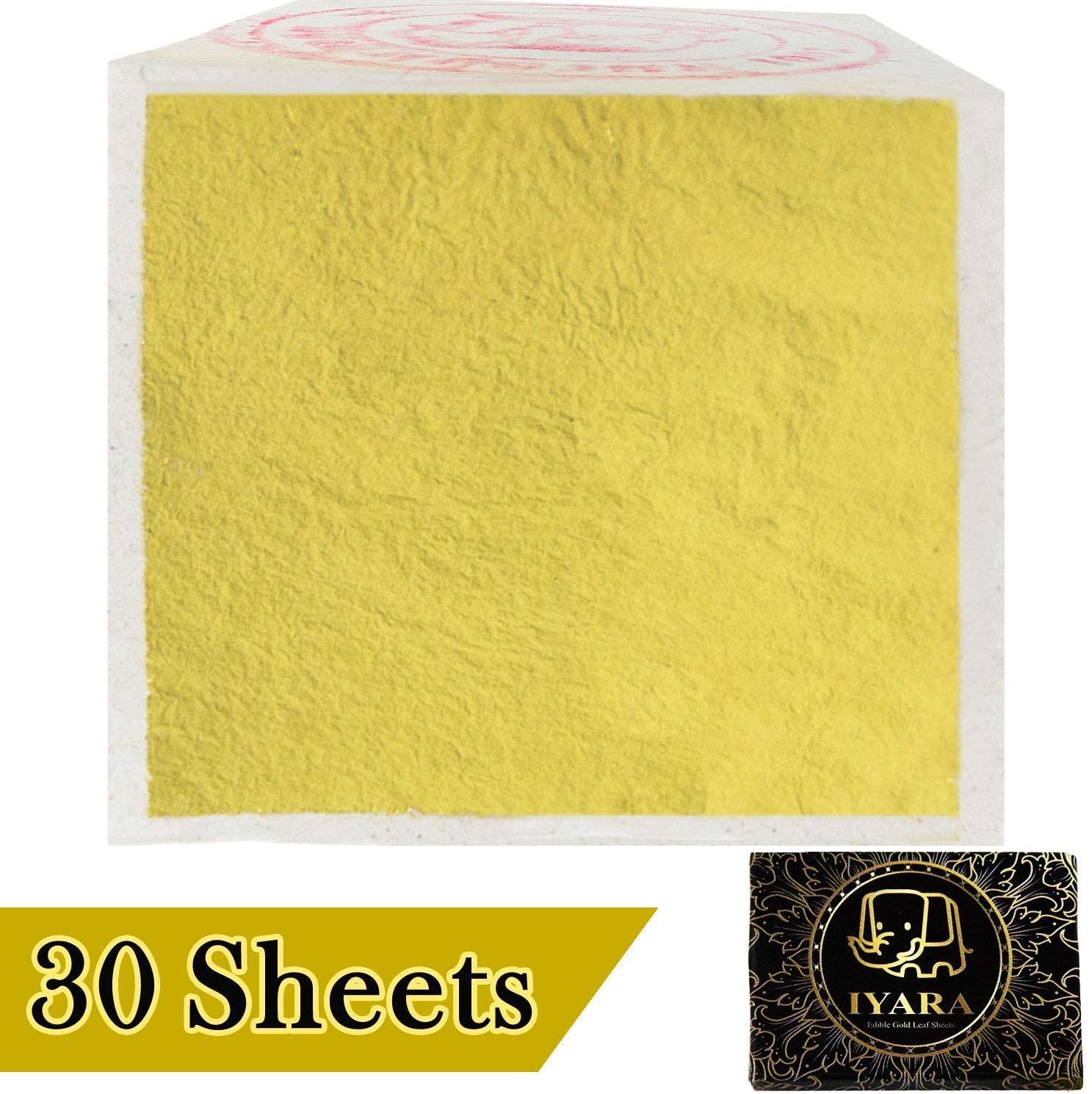 IYARA 30 Edible Gold Leaf Sheets – Multipurpose 24 Karat Yellow Leaves for Food and Cake Decoration, Spa Anti-Wrinkle Face Masks, Art, Crafts, Gilding, Restoration, DIY Projects (1.2