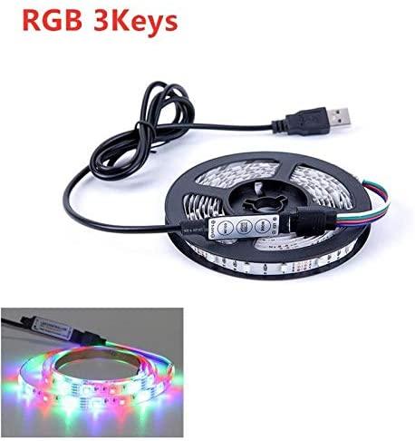 Premium Led Strip Lights, Led Strip Lights With Remote 2835 Non Waterproof Led Strip Lights For Bedroom Professional & Upgraded (Color : RGB 3Keys, Size : 5m)