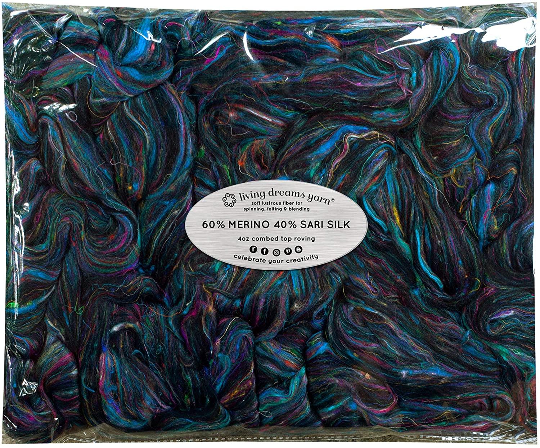 Merino & Sari Silk Fiber Blend for Spinning & Felting. Super Soft Combed Top. Nirvana