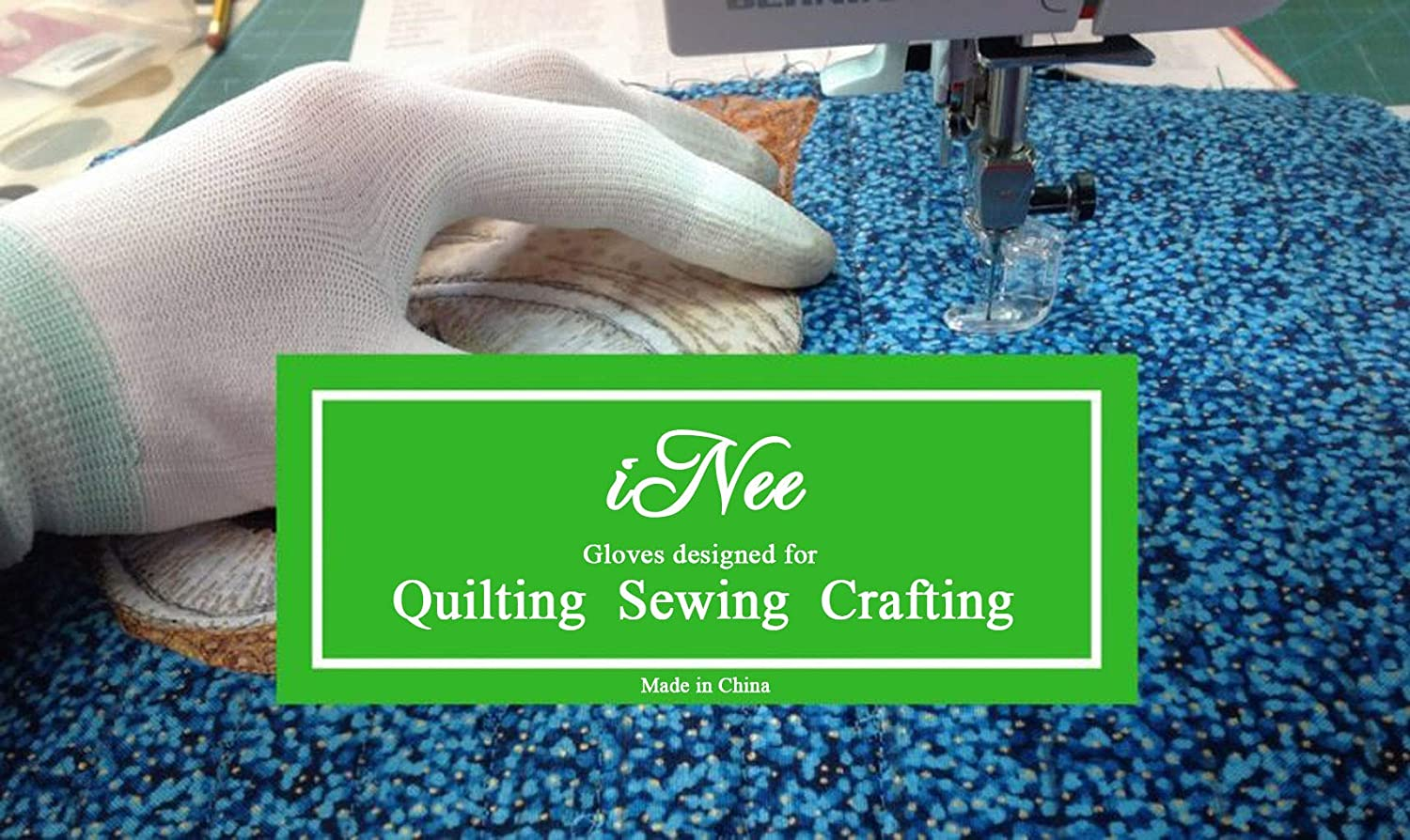 iNee Quilting Gloves for Free Motion Quilting, Medium Size