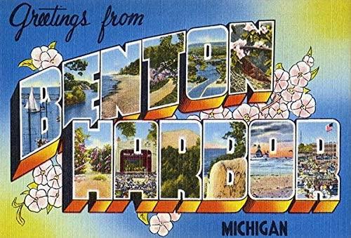Greetings from Benton Harbor, Michigan - 1930's - Vintage Postcard Poster