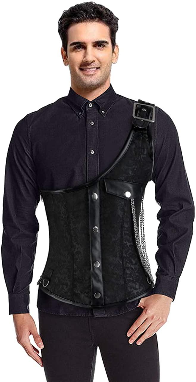 KILLREAL Men's One-Shoulder Steampunk Gothic Brocade Waistcoat Corset Vest