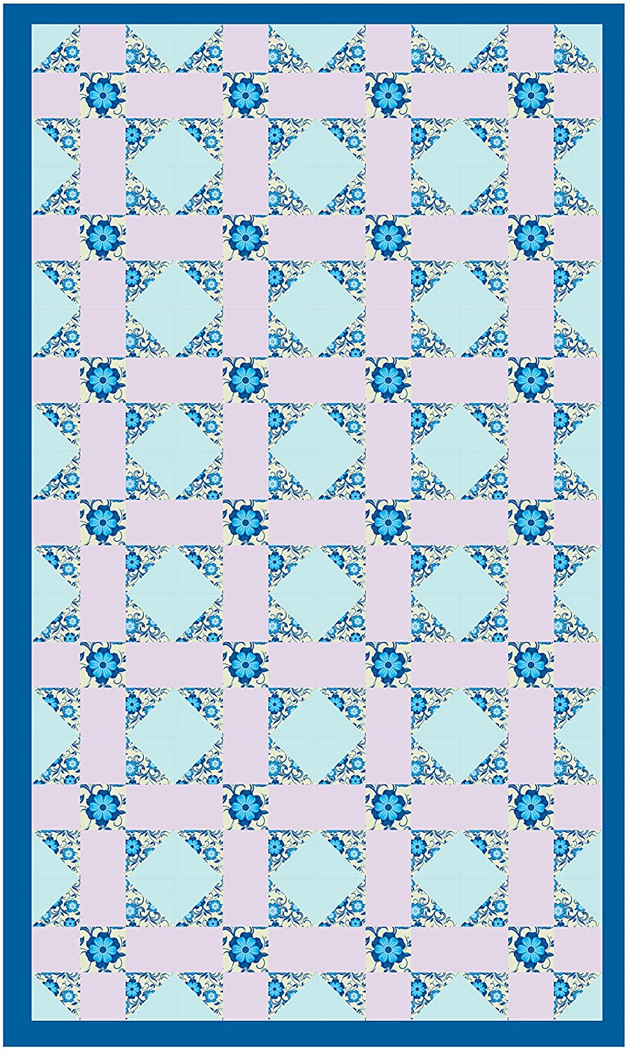 Blue Floral quilting kit quilt panel 12.5 x 12.5 patchwork cotton printed fabric using organic ink