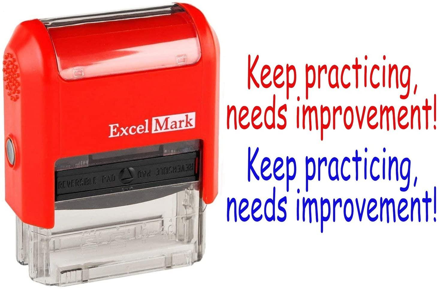 ExcelMark Self-Inking Rubber Teacher Stamp Keep Practicing, Needs Improvement!