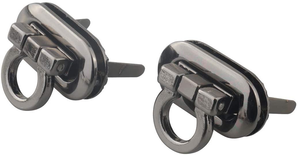 ALLinONE Purse Twist Turn Locks for DIY Handbag Purse Accessories Leather Craft (Gun Black - 2 Sets)