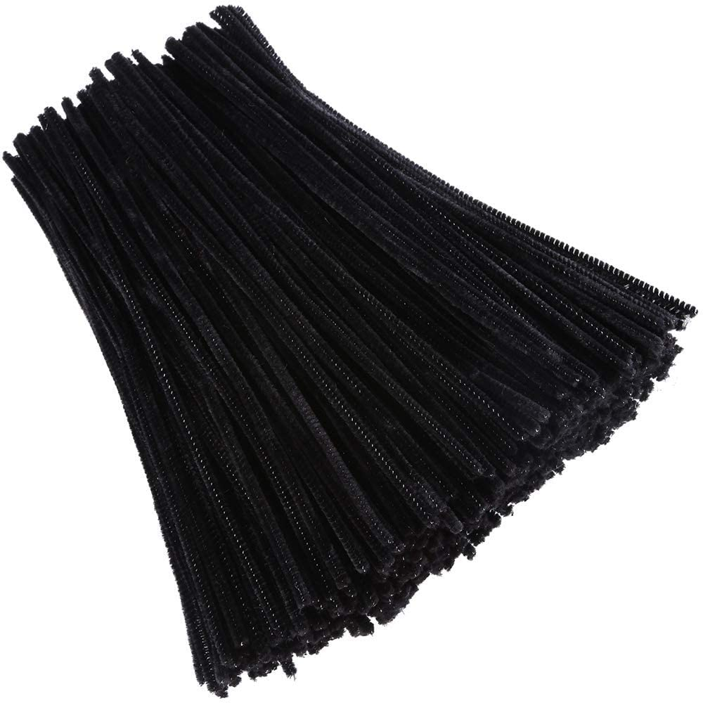 WILCO 100 Pieces Pipe Cleaners Chenille Stem for Arts, Crafts and DIY Projects. 6mm x Almost 12 inches (Black)