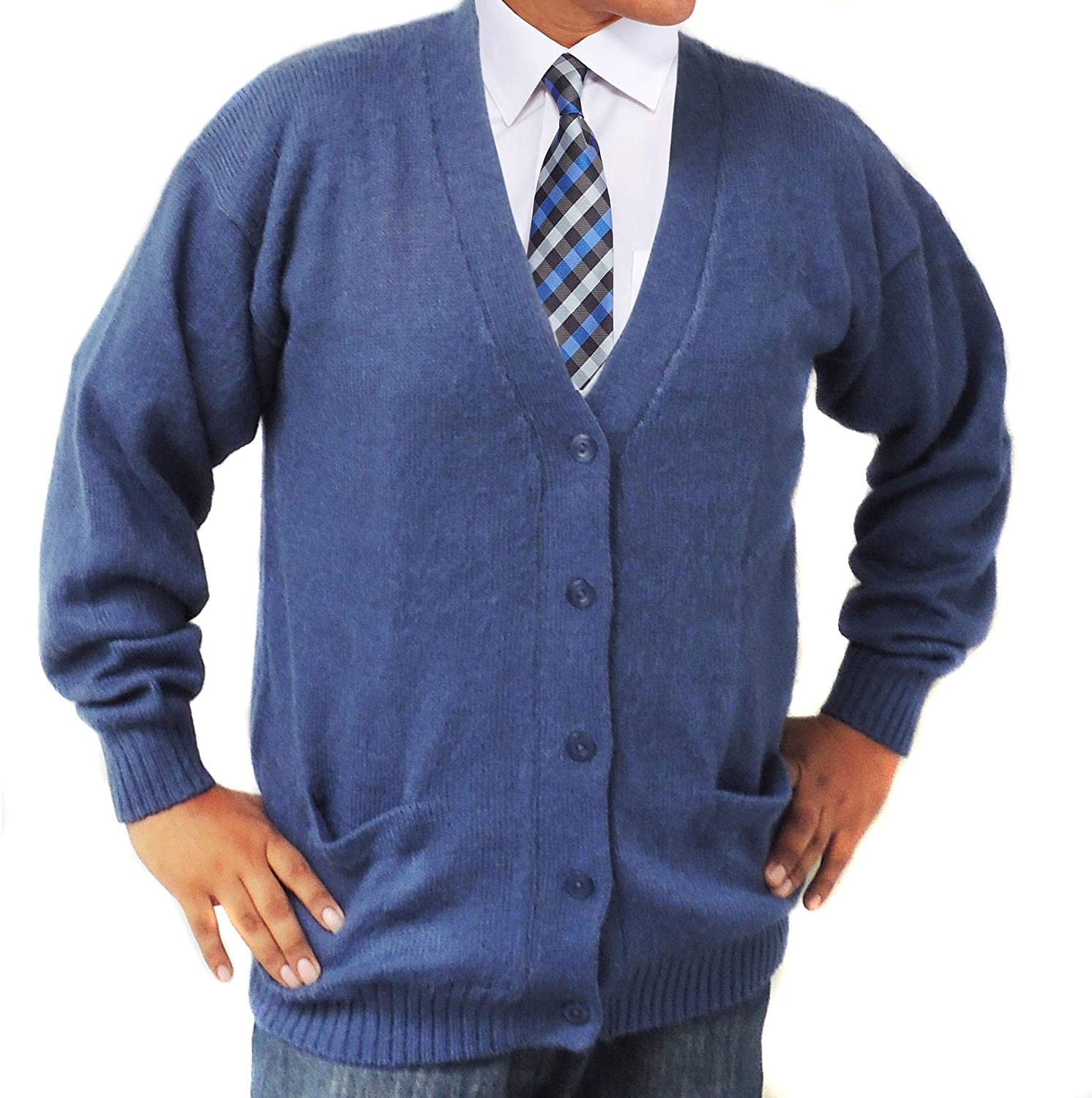 ALPACA CARDIGAN GOLF SWEATER JERSEY V neck buttons and Pockets made in PERU STEEL