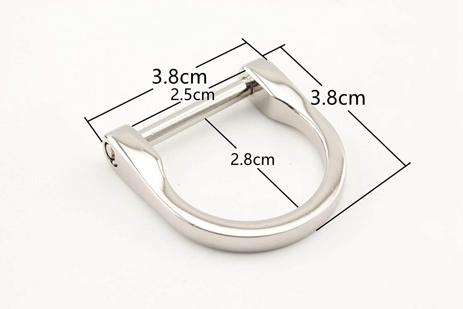 Nickel, 1 inch / 25mm 4 Different Size zinc Alloy D Rings D-Ring with Screw,Buckles Dismountable Screw for Buckle Straps Bags Belt,Purse Making, Bag Making,Bag Replacement, 8 Pieces per lot D15