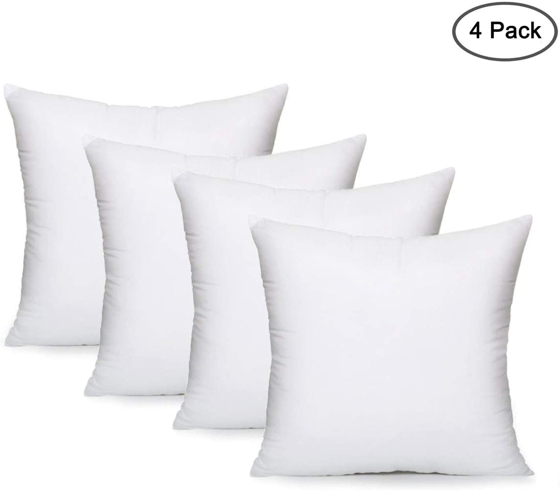 EVERMARKET Square Sham Stuffer Hypo-Allergenic Poly Throw Pillow Form Insert White, 18