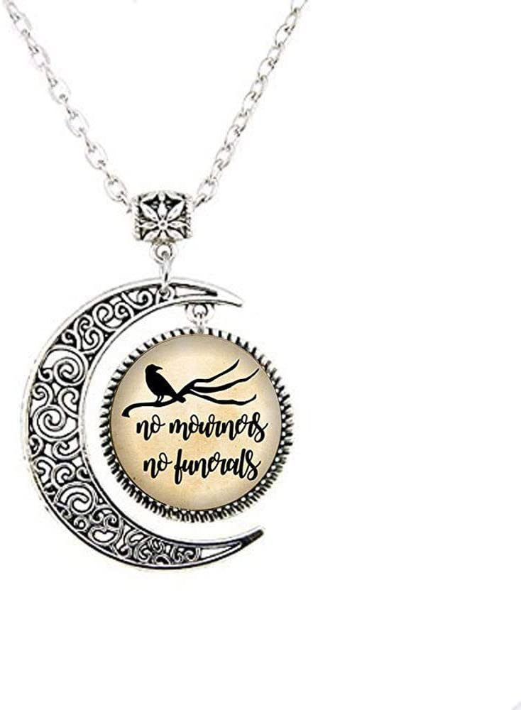 No Mourners No Funerals Moon Necklace, Crows, Book Nerd, Book Lover, Reader Necklace,Glass Dome Necklace