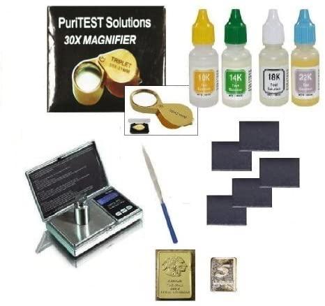 PuriTest Complete Gold Testing Kit with 4 Bottles Test Acid 10k 14k 18k 22k, Stones, Eye Loupe, File, and Free Mini Gold Bars