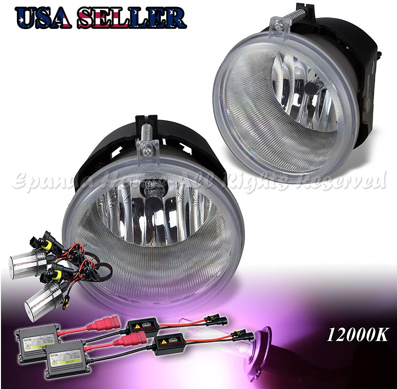 EpandaHouse Fog Lights Assemblies For Chrysler/Dodge/Jeep/Mitsubishi Clear Lens DOT/SAE s+12000K Slim AC HID