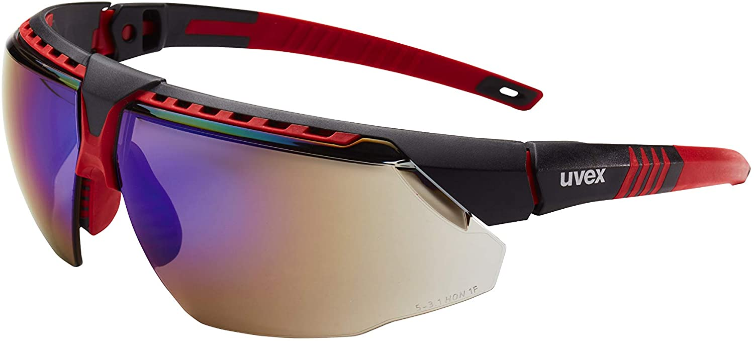 Uvex by Honeywell Avatar Safety Glasses, Red Frame with Blue Mirror Lens & Anti-Scratch Hardcoat (S2863)