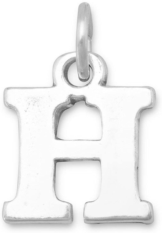 LND .925 Sterling Silver Oxidized H Charm