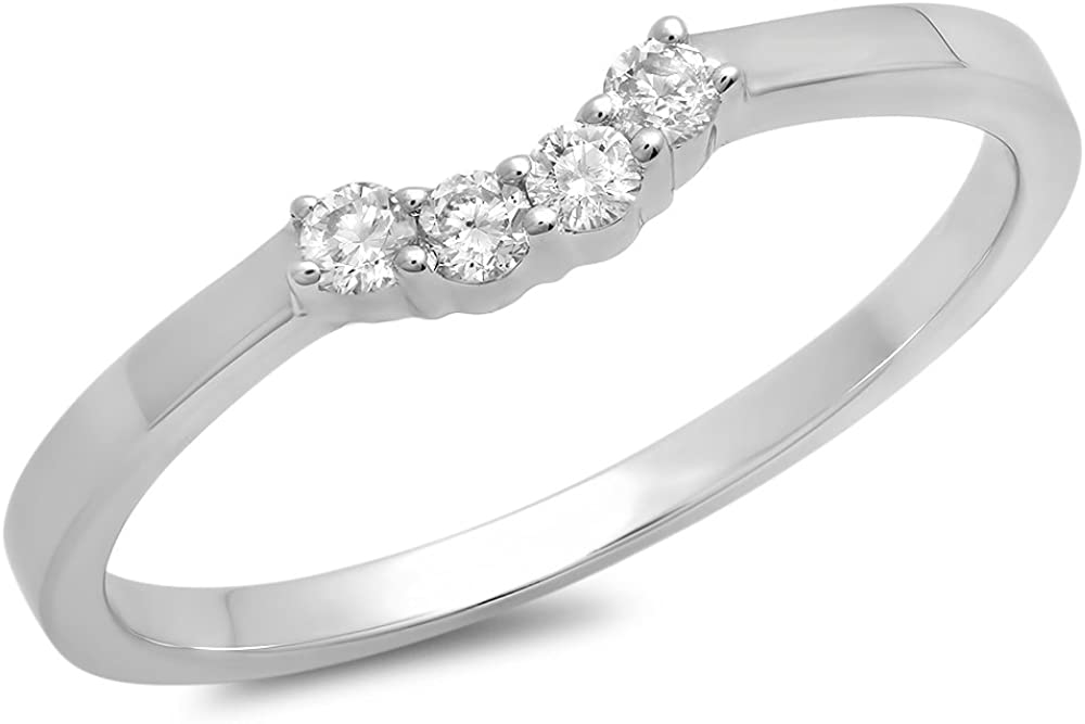 0.15 Carat (ctw) 14K Gold Round Diamond Ladies Contour Anniversary Wedding Stackable Band Guard Ring