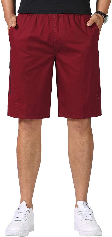 OSEING Men's Cotton Elastic Waist Summer Cargo Shorts