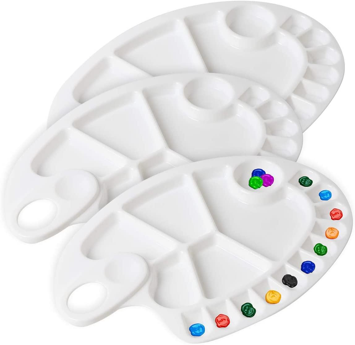 DerBlue 3Pcs Plastic Paint Tray Palettes - Acrylic Paint Palette Watercolor Mixing Palette for Artist Painting