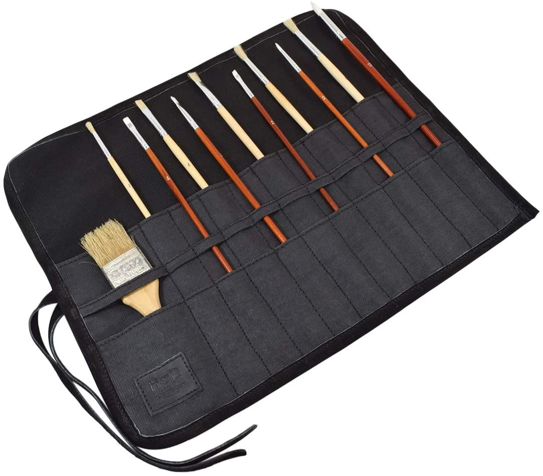 Hide & Drink, Waxed Canvas Artist Paint Brush Roll Up Bag Organizer Pouch Handmade :: Charcoal Black