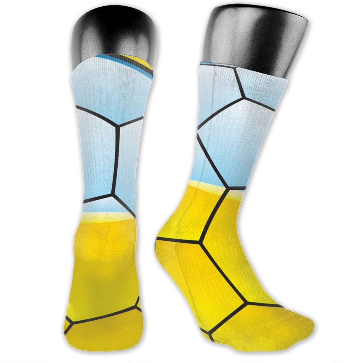 avbvoxy Knee High Socks for Men Women Ukraine Flag On Soccer Ball Sports Soccer Socks 40cm