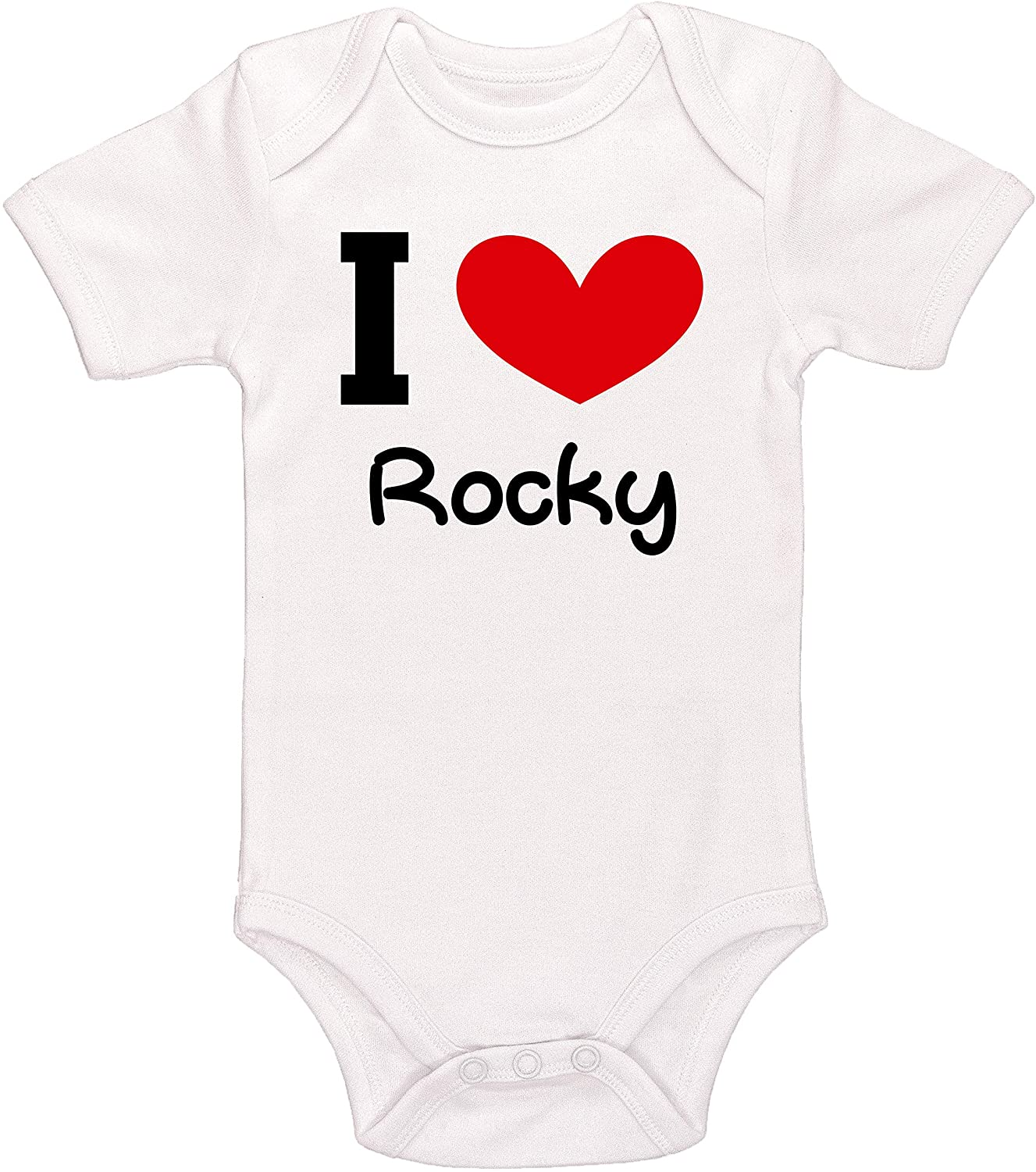 Kinacle I Love Rocky Personalized Baby Bodysuit