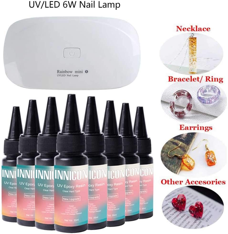UV Resin Epoxy Gel Glue Set, 240ml Quick Curing Transparent Hard Type Solar Cure, DIY Decoration Making Jewelry DIY For Silicone Mold Pendants Earrings Necklace Bracelets, with Lamp