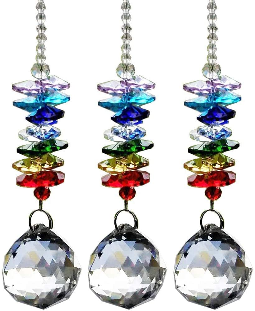 Crystal Ball Pendant Suncatcher 3 Pcs Crystal Chandelier Pendants Beads Chain Parts Glass Beads Teardrop Crystal Strands for Wedding and DIY Craft Jewelry Decoration