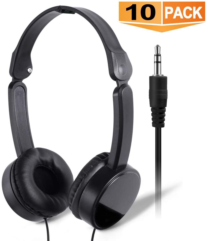 Bulk Headphones Heasets for Students - SP Soundpretty 10 Pack Headphones in Bulk SP-T10 Black Adjustable Foldable Wholesale Earbuds Headsets for Kids for School Children Teachers Computers