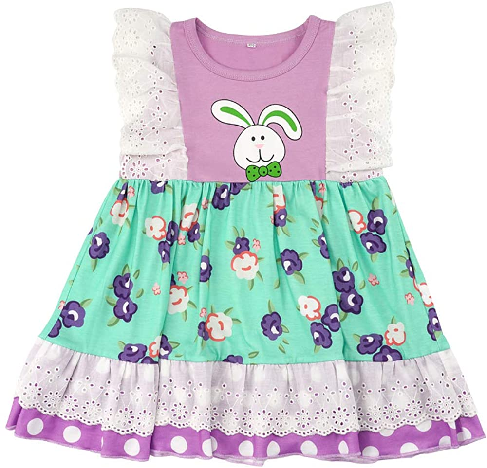 Baby Girl Easter Outfits Toddler Bell Rabbit Print Long Sleeve T-Shirt Top Dress+Floral Pant 2Pcs Clothes Set