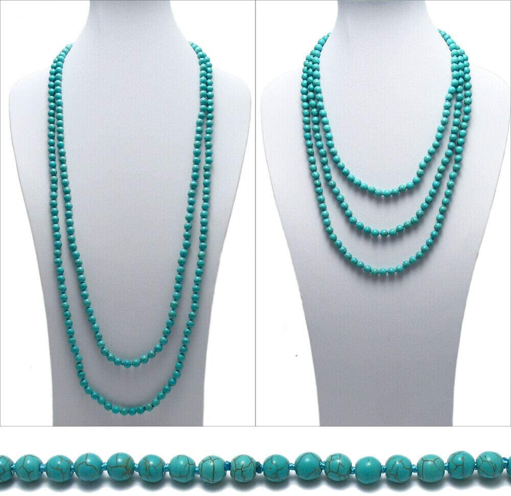 Genuine Natural Turquoise 80'' Long 8mm Bead Stranded Necklace(925 Sterling Silver)
