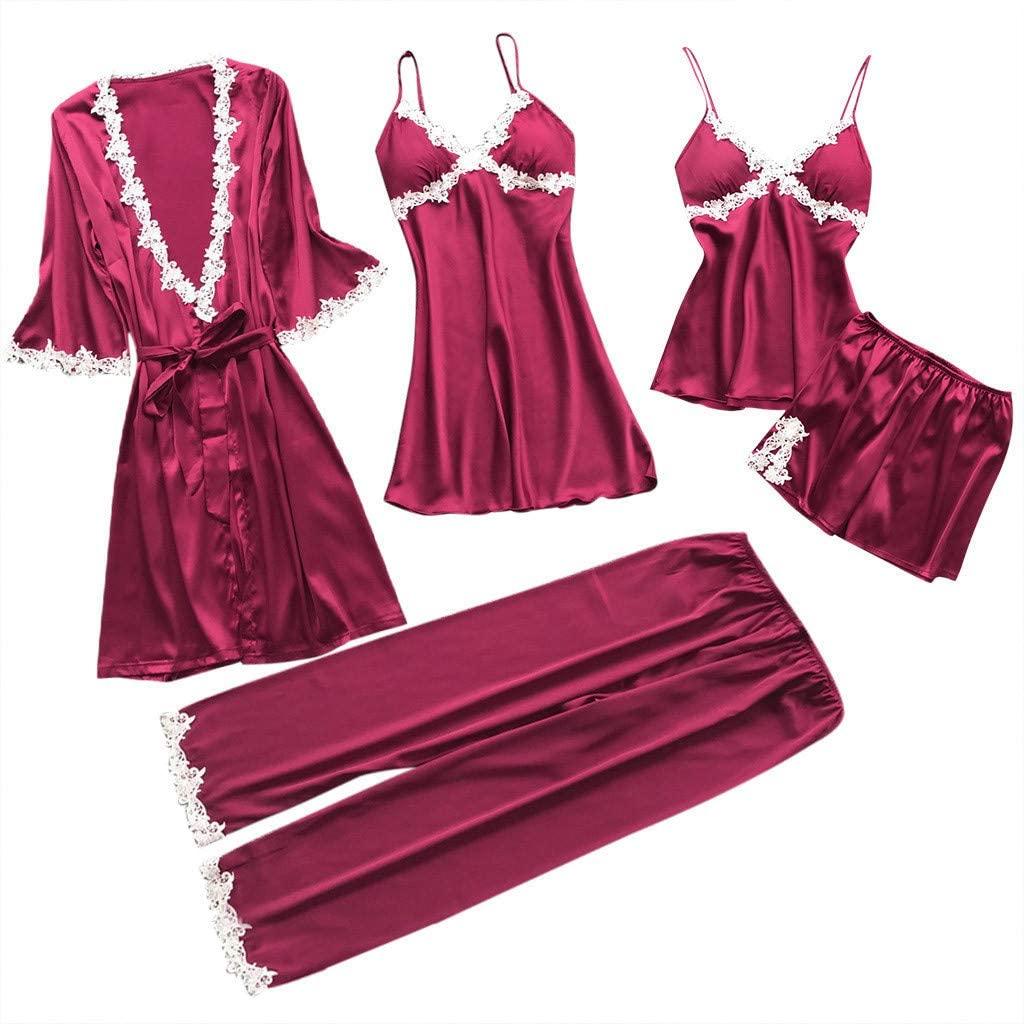 Women Plus Size Sexy Lace Lingerie 5pcs Nightwear Suit Underwear Trim Lace Babydoll Chemise Sleepwear