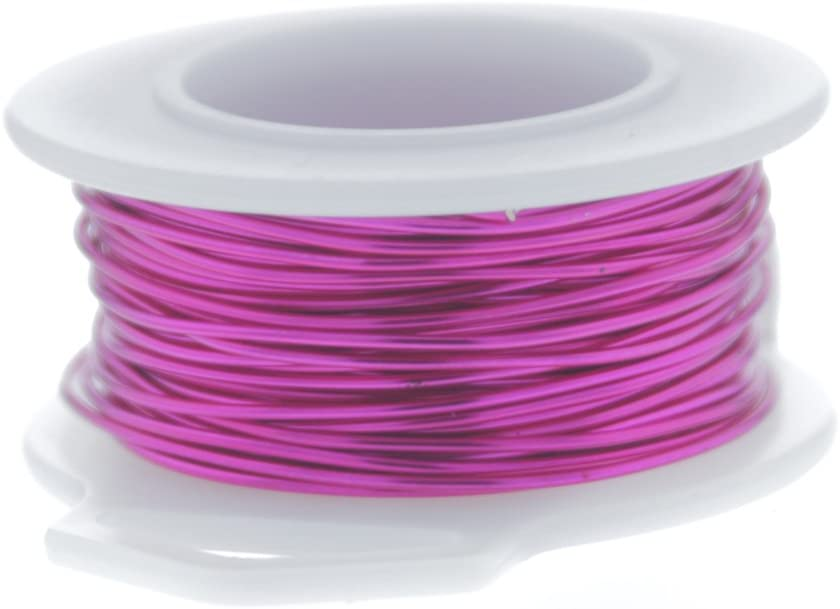 26 Gauge Round Silver Plated Fuchsia Copper Craft Wire - 45 Ft