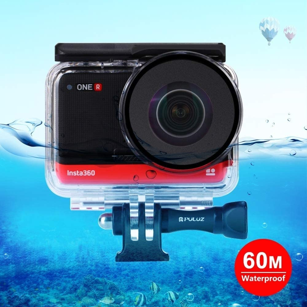 Waterproof Case, 60m Underwater Depth Diving Case Waterproof Camera Housing for Insta360 ONE R Panorama Camera Edition(Transparent) (Color : Transparent)