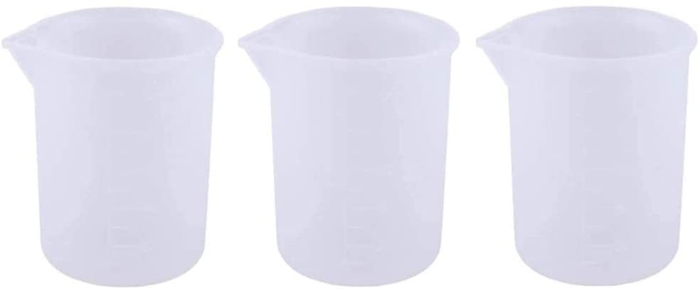 3 PCS 100 ml Silicone Measuring Cups for Resin, Sportsvoutdoors Non-Stick Mixing Cups Glue Tools, Kitchen and Makeup Ingredients Precise Scale for Making Handmade Craft, Reusable and Dishwasher Safe