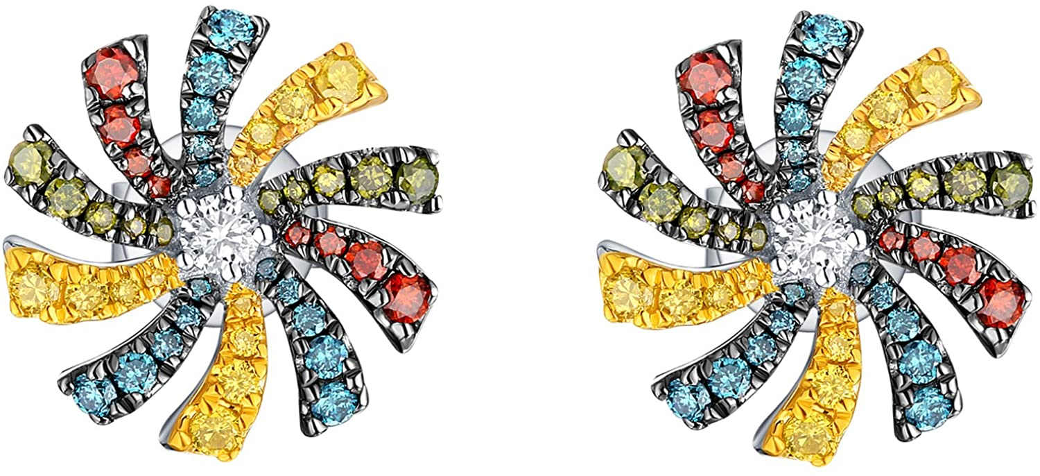 Prism Jewel 0.59Ct Multi Color & Natural Diamond Flower Shape Push Back Earrings Crafted In Gold