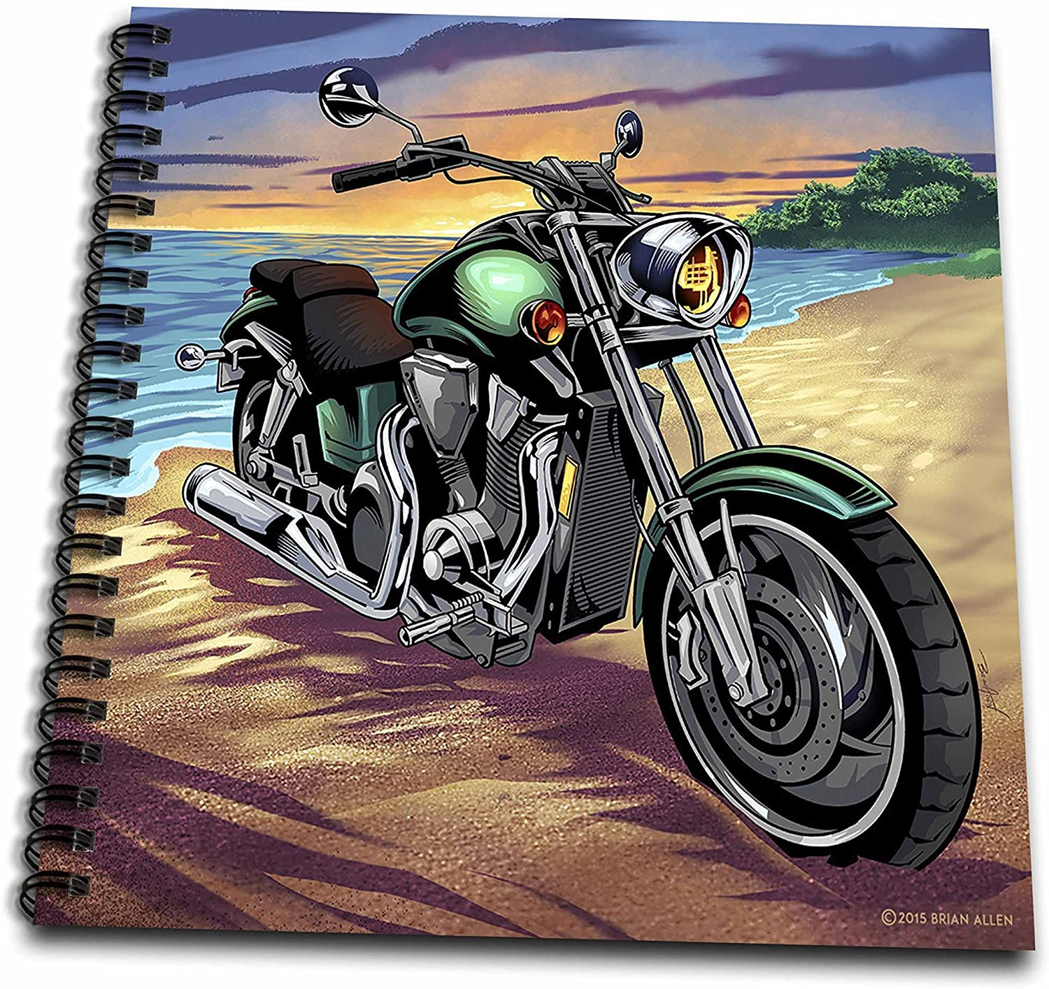 3D Rose Motorcycle Parked on The Beach at Sunset Drawing Book