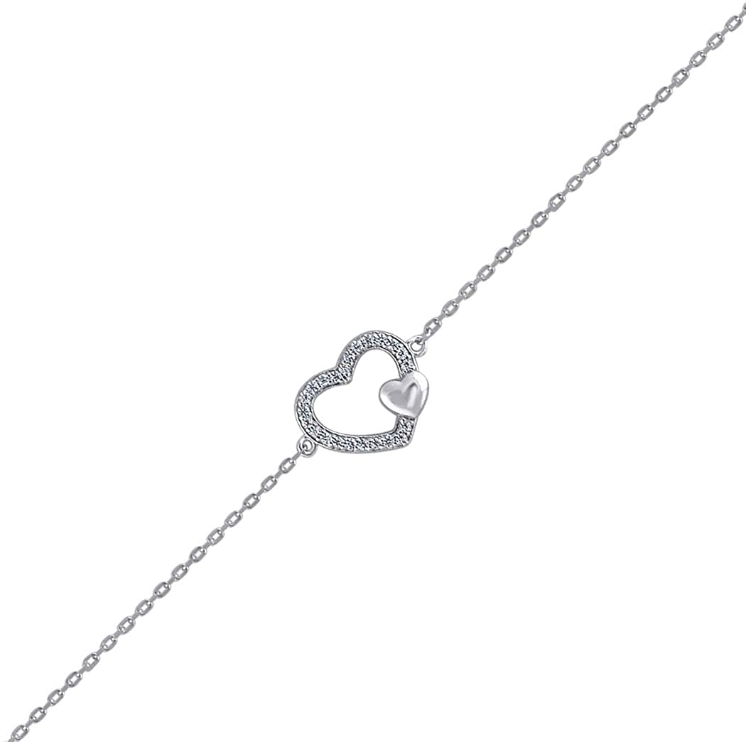 925 Sterling Silver CZ Cubic Zirconia Simulated Diamond Love Heart 1.42gm Womens Bracelet Jewelry Gifts for Women