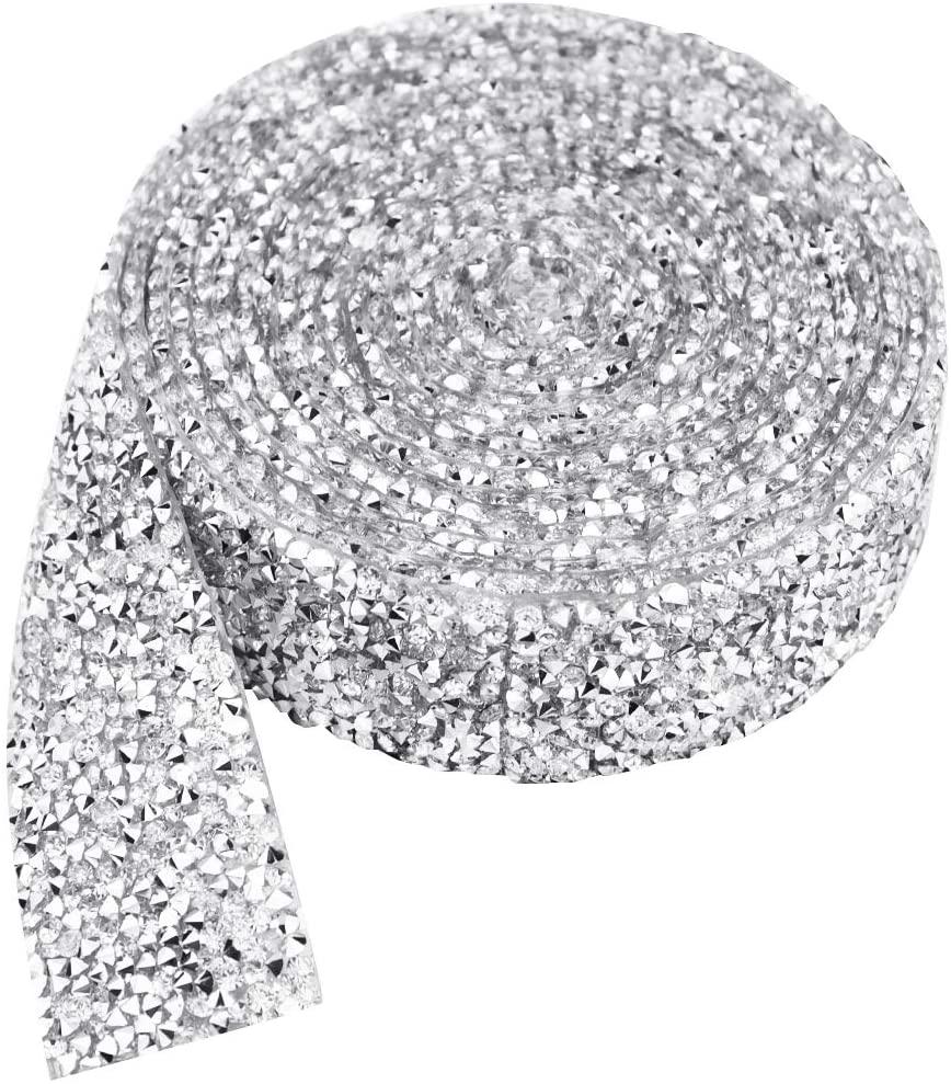 1.18 Inch Crystal Rhinestone Ribbon, Fengek 3 Yards Sparkling Resin Crystal Ribbon Rolls Mesh Belt Wrap for Wedding Birthday Party Decoration, Silver