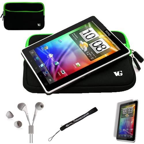 Green Trim Black Slim Protective Soft Neoprene Cover Carrying Case Sleeve for HTC Flyer Android OS AD2P 7 Inch Tablet Device and Hand Strap and Earbuds and Screen Protector